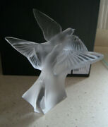 Lalique Crystal Two Swallows Figurine Mib