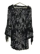 Inc Woman Womens Sheer Blouse 16w Black Gray Floral Layered Long Sleeve Tie Top