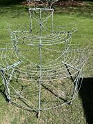 Antique Victorian Light Green 3 Tier Wire Plant Stand 5 Rolling Wheels Unique