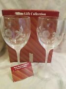 New Avon Gift Collection Hummingbird Crystal Goblets One Pair New Coa 7