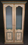 Antique Distress Paint Decorated Lighted Display Curio Cabinet Vitrine