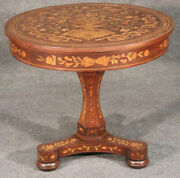 Late 19th Century Inlaid Dutch Marquetry Mahogany And Satinwood Center Table