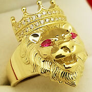 10k Yellow Gold Lion Ring Crown Lion Head Ring