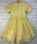 1960andrsquos Vintage Jack Borgenicht Yellow Check Sheer Girlandrsquos Size 10 Party Dress
