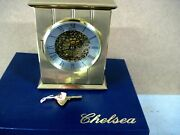 Vintage Chelsea Brass Mantle Clock, With Pierced Grill