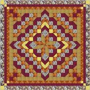 Quilt Kit Faceted Star Burgandy And Gold/ Precut Ready To Sew