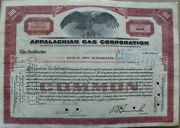 Stock Certificate Appalachian Gas Corporation 1932 W/ Stamps Brown 100 Shares