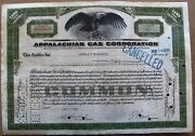 Temporary Stock Certificate Appalachian Gas Corporation 1932 Less Than 100 Share