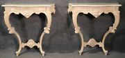 Pair Of White Washed French Louis Xv Marble-top Wall Mounted Console Tables