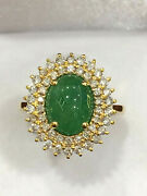 Certified High Quality 3.2 Ct Type A Burmese Jadeite Ring 18k Gold And Diamonds
