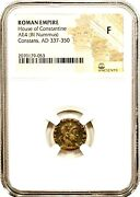 Roman Emperor Constans Coin Ngc Certified F With Storycertificate