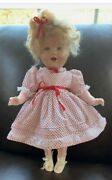 Vintage Antique 20 Shirley Temple Doll 1930and039s Wearing A Beautiful Red And White