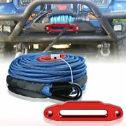 Blue 95ftx3/8 Synthetic Winch Rope Cable + Cnc 10 Hawse Fairlead Off Road Car