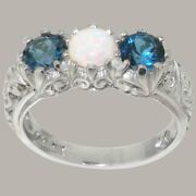 18ct White Gold Natural Opal And London Blue Topaz Womens Trilogy Ring