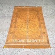 Yilong 4and039x6and039 Handwoven Silk Carpet Gold Home Office Antique Area Rugs Mc659b