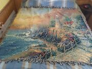Thomas Kinkade Throw Blanket - Lighthouse Of Peace Pre-owned/excellent...
