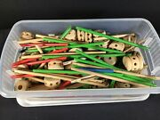 Vintage Tinker Toys Over 3 Pounds Mixed Lot Wooden With Tote