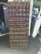 French Style Riddling Rack Distressed Wood 60-bottle Wine Rack 67 X 28 Vintage