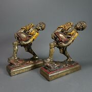 Pirate Bronze Antique Armor Book Ends Signed P. Beneduce Enameled Metal Statue