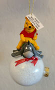 Disney Winnie The Pooh And Eeyore On A Large Snowball Christmas Ornament Rare