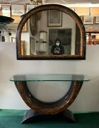 Elegant Art Deco Console Table And Matching Half-moon Mirror 7992