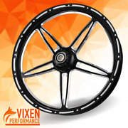 23 X 3.75 Vibrance Contrast Wheel And Front Tire - Black - 00-19 Harley Touring