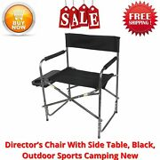 Director's Chair With Side Table, Black, Outdoor Sports Camping New