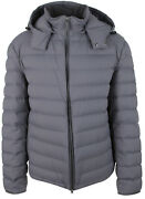 Brioni Menand039s Ultralight Down Jacket Quilted Jacket Hood Zip Gray Grey Size 3xl