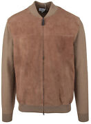 Brioni Menand039s Leather Bomber Jacket Cardigan Lamb Leather Wool Size Eu 52 L Us 42