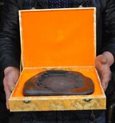 9chinese Dynasty Duanyan Stone Carved Landscape Ink-stone Ink Slab Inkwell Box
