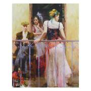 Pino Family Time Hand Embellished Signed On Canvas Italian-american Artist