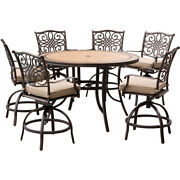 Hanover Mondn7pcbr-c -p Monaco 7-piece High-dining Set In Tan With A 56 In. Tile