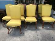 Set Of 8 French Antique Style Louis Xiv Walnut Upholstered Dining Chair In Silk