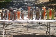 Large Lot Of Antique Carnival Glass Vase Collection Mid Size Northwood And More.