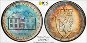 Ms67 1964 Norway Silver 10 Kroner Pcgs Secure- Lustrous Rainbow Toned