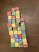 Vintage Children's Wooden Blocks Mixed Lot 37 Ribbed Abc Picture Words Toy Decor