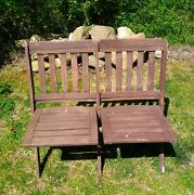 Antique/vintage Wooden Double Folding Chairs - Used But In Good Solid Condition