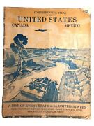1935 Gallup Comprehensive Atlas Of The United States Canada Mexico - Vintage