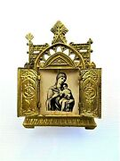 Antique Old Small Traveling Icon Mary And Baby Jesus Litho Tin Oklad Triptych Cb