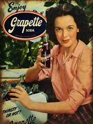 Enjoy Grapette Soda Girl By Cooler Heavy Duty Usa Made Metal Advertising Sign