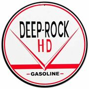 Deep Rock Hd Gasoline 14 Round Heavy Duty Usa Made Metal Gas Advertising Sign