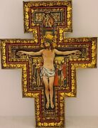 Vintage Large Icon Russian Orthodox Ornate Jesus Icon Wall Crucifix Cross 17.5