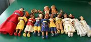 Lot Of 12 Vintage Native American Dolls 10 Plastic 1 Plaster And 1 Rag Doll