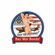 Risque Girl Wwii Buy War Bonds B-25 Heavy Duty Usa Made Metal Advertising Sign