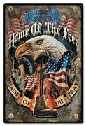 Home Of The Free Because Of The Brave Eagle 18 Heavy Duty Usa Made Metal Sign