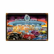 Blue Moon Drive In Classic Cars 18 Heavy Duty Usa Made Metal Advertising Sign