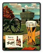 Goebel Beer Glass Military Cannon 15 Heavy Duty Usa Made Metal Advertising Sign