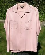 Vtg 1950andrsquos Pink Black Elvis Gabardine Rockabilly Shirt Xl 17-17 1/2