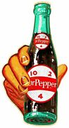 Hand Hold Dr Pepper 10 2 4 Bottle 22 Heavy Duty Usa Made Metal Advertising Sign