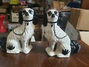 Pair Matching Vintage White Dog Statues Plus 2 Dog Statues